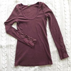 Long sleeve shirt with lace sleeves- free people